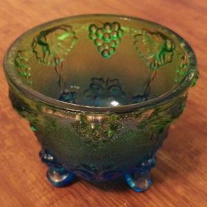 Vintage Jeanette Blue Green Carnival Glass Dish
